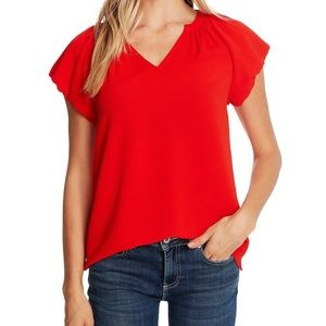 CeCe Candy Apple Bubble Sleeve V-Neck Top NWT| M